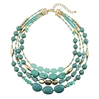 """BOCAR Multi Layer 4 Strand Statement 17"""" Collar Beaded Necklace for Women Gift (NK-10533) (533)"""