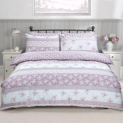 Printed Reversible Duvet Cover Set With Pillowcases Quilt Animal Print Bedding Set (King, Patchwork Floral Pink)