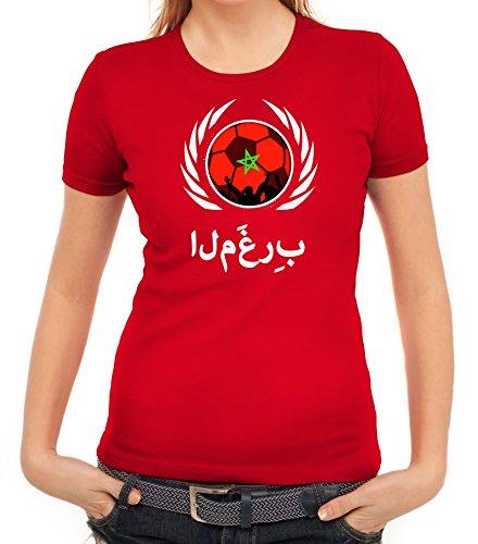 ShirtStreet Marocco Wappen Soccer Fussball WM Fanfest Gruppen Fan Wappen Damen T-Shirt Fußball Marokko Rot