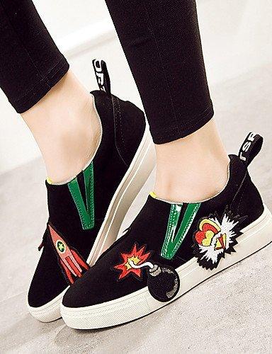 ShangYi gyht Scarpe Donna-Mocassini-Casual-Comoda-Piatto-Di pelle-Nero e bianco black and white
