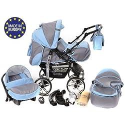 Baby Sportive - 3 en 1, RUEDAS ESTÁTICAS y accesorios, color gris, azul