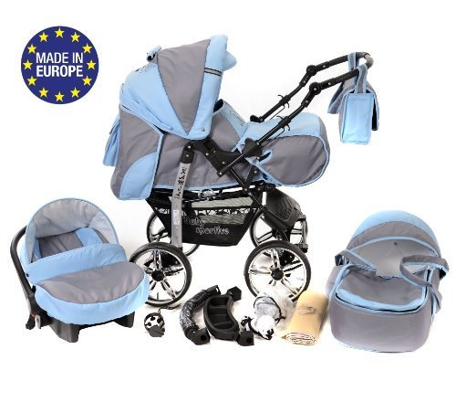 3-in-1 Travel System with Baby Pram, Car Seat, Pushchair & Accessories, Pale Grey & Blue 51TmQnJ8bYL