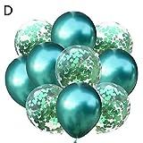 kingpo 10pcs Ensemble de Ballon à Paillettes, Ballon en Latex de Chrome métallique, Combinaison pour fête d'anniversaire de Mariage, Perle dorée épaissie, Ballon décoratif de confettis à Paillettes