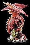 Große Drachen Figur rot - Mutter mit Jungen - Ei Baby