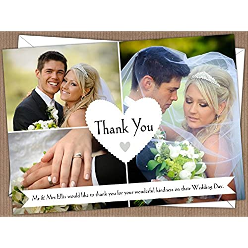 Personalised Wedding Thank You Cards Design Code WTY 15 Pack Of 100