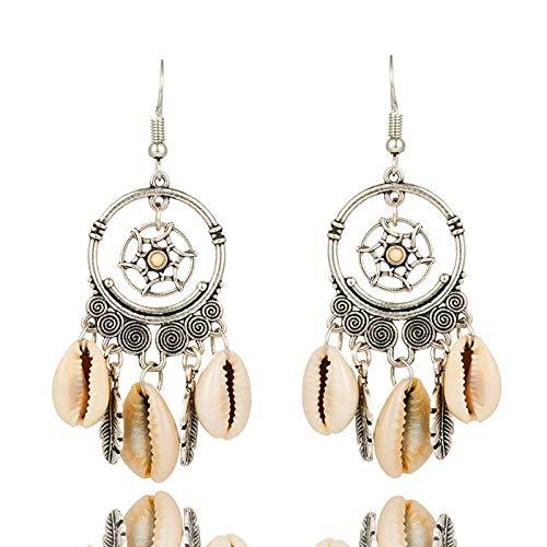 Zuiaidess orecchini a bottone donna,naturali unici big shell orecchini pendenti per le donne di moda colore argento orecchini a pendente fascino gioielli doni