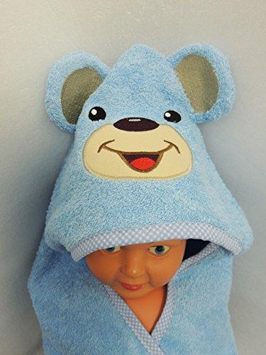 r mit Ohren Kapuzenhandtuch Bademantel 5-tlg. 100% Baumwolle (blau) ()