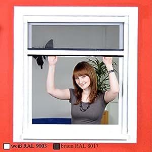 Standard Fliegengitter Rollo Fenster OHNE BOHREN mit Fiberglasgewebe - Insektenschutz zum Klemmen - 130 x 160 cm braun