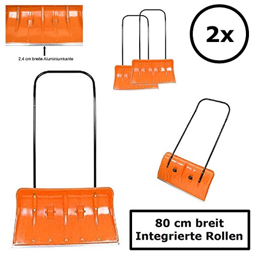 2x BBT@ Schneeschieber auf Rollen Orange / Extra breite 80 cm für große Flächen / Leichtgängig durch integrierte Rollen und Alu-Schiebestange