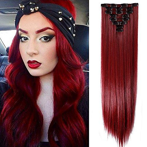 TESS Clip in Extensions wie Echthaar Kunsthaar Haarteil günstig 8 Tressen 18 Clips Haarverlängerung Glatt Rot 26