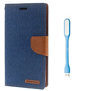 Vivo Y27 Premium Wallet Flip Case Cover (Matte Blue +LED LIGHT) By Mobile Life