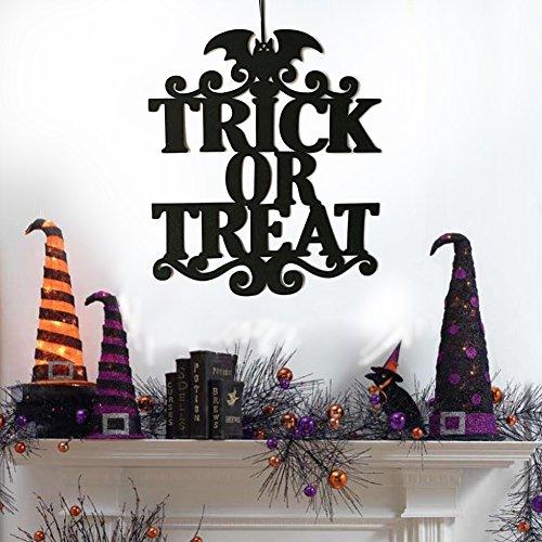 Yimosecoxiang Schöne und lustige Fisher Price Trick or Treat Decor Vlies-Tür-Wandschild Halloween gruselig hängende Requisite, Vliesstoff, Trick or Treat