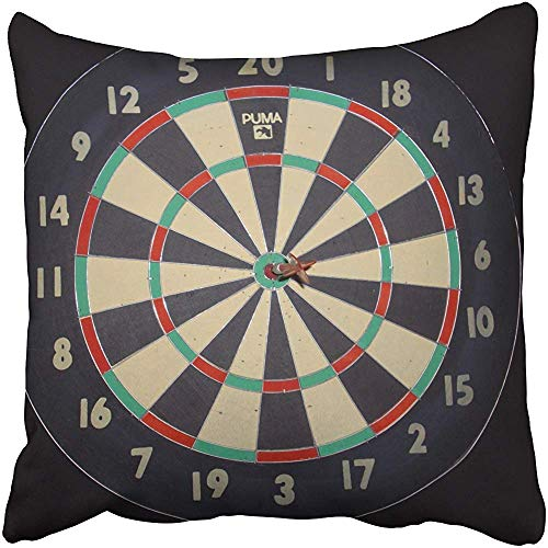 Zierkissenbezüge, Throw Pillow Covers, Game Dart Board Pillow Throw Pillow Case 18X18 Inch,Home Decoration Pillowcase Zippered Pillow Covers Cushion Cover with Words for Book Lover Worm Sofa Couch (Board Cover Dart)