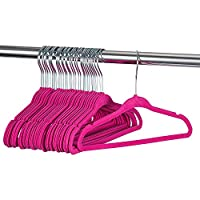 "ZOBER - Baby Velvet Hangers - Premium Quality, Space Saving, Strong and Durable - Perfectly Sized For Babies 0-48 months - 11"" wide - Ultra Thin Non-Slip Hangers 360 Chrome Swivel Hook [30 pack] Pink"