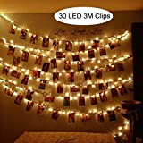 LED Foto Clips Lichterketten Warmweiß, SanGlory LED Lichterkette mit 30 Clips, 3 Meter Poto Lichterketten LED Batteriebetriebene Dauerlicht für Bilder Fotos Karten (3 Meter Warmweiß)