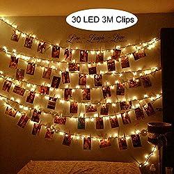 LED Foto Clips Lichterketten Warmweiß, SanGlory LED Lichterkette mit 30 Clips, 3 Meter Poto Lichterketten LED Batteriebetriebene Dauerlicht für Bilder Fotos Karten (3 Meter Warmweiß)