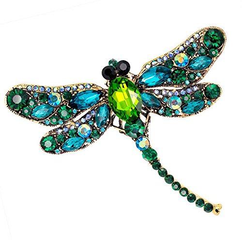 Da.Wa Vintage Style Strass Kristall Libelle Brosche Pin Tier Brosche Pins Schmuck (Vintage-kleidung Libelle)