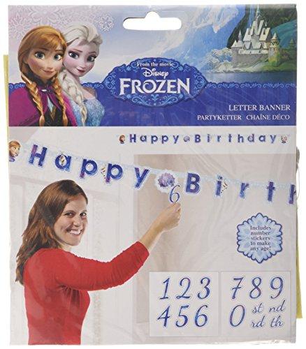 falksson Personalisierbare Girlande Die Zauberhafte Eiskönigin 1,8 m (Birthday Frozen Happy)