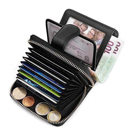 Geldbörse Damen Leder klein, Vogek Schutz Kartenhalter Geldbeutel Frauen Portemonnaie Brieftasche mit RFID Schutz Kreditkartenetui für Damen und Herren -