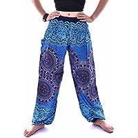VENMO Hombres mujeres tailandesas pantalones de harén Festival hippy delantal hippie alta cintura pantalones de yoga (azul, Tamaño libre)