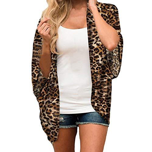 Crochet Floral Cardigan (Sannysis Damen Blumendruck Chiffon Kimono Sommer Strand Leopardenmuster Kimono für Frauen Pareo Cardigan Cover up Sommerkleider für Bikini)