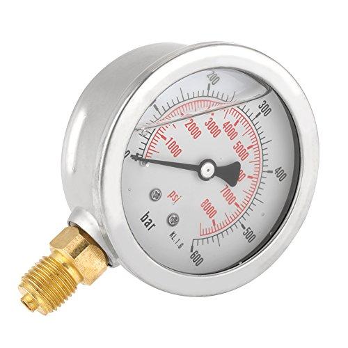 Akozon Hydraulikmanometer Druckanzeige Meter Glycerin Gefüllter Wasserdruck Messwerkzeug,G 1/4 NPT Doppelskala 63mm Dual Scale Pneumatische und Hydraulische Allzweck Manometer 0-600 Bar/0-8500 Psi