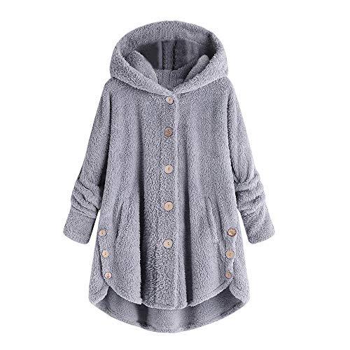 Polo Cord-jacke (iHENGH Damen Herbst Winter Bequem Mantel Lässig Mode Jacke Mode Frauen Knopf Mantel Flauschige Schwanz Tops Mit Kapuze Pullover Lose Pullover)