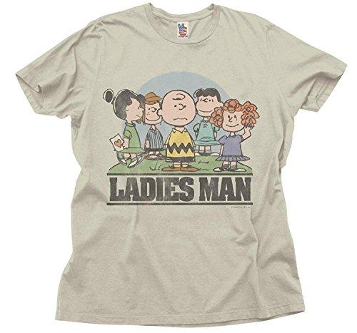 Junk Food Peanuts Ladies Man Erwachsene Silber Grau T-Shirt (Large) (Erwachsene Silber T-shirt Tee)