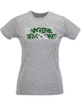 Camiseta Mujer Slim Imagine Dragons Texture Logo - Maglietta 100% algodòn ring spun LaMAGLIERIA