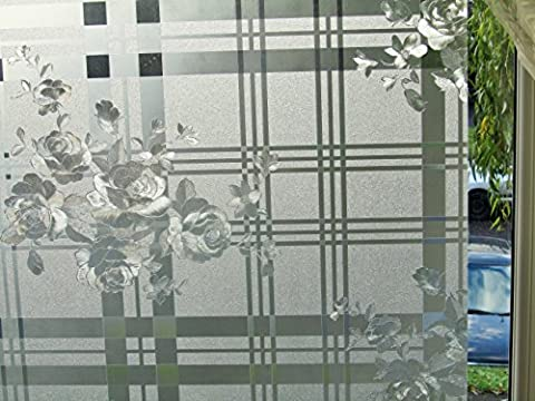 3D Reusable Embosed Decorative Privacy Vinyl Static Film (1m x 90cm) Shades of Rose