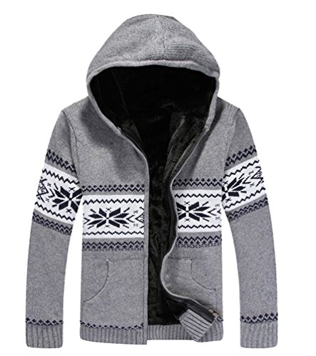 MILEEO Men's Hooded Jacket Hoodie Fleece Lined Outerwear Jacket Cotton Coat Wind Coat Wool Jacket Oberkleidung Softshell Jacket, 13 Colours, 4 Sizes Grau 1