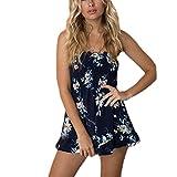 Mode Damen Bandeau Romper Jumpsuit Sommer Kurzer Hosenanzug Sexy Catsuit Casual Overalls Strand Einteiler Blumendruck Blau Size M