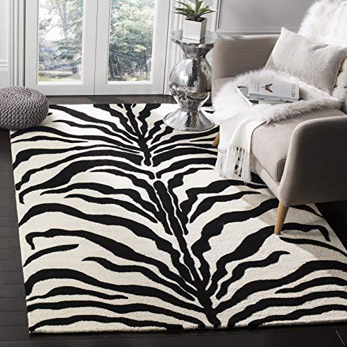 Safavieh Zebra-gestreifter Teppich, CAM709, Handgetufteter Wolle, Elfenbein/Schwarz, 120 x 180 cm - Schwarz Elfenbein Teppich