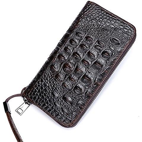 Itslife olio da uomo, con cerniera, in pelle, colore: marrone, effetto coccodrillo, a portafoglio, motivo: Scales
