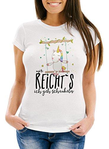 Damen-T-Shirt-Einhorn-auf-Schaukel-Mir-reichts-ich-geh-schaukeln-Spruch-Slim-Fit-Moonworks