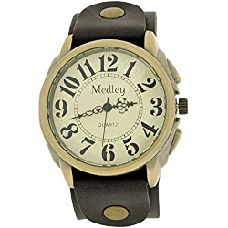 Medley Gents Analogue Beige Dial Wide Brown Leather Cuff Strap Watch MED22
