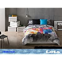 Gale Hayman Style Lois Cromático Funda Nórdica, Algodón-Poliéster, Gris y Rojo, 205x105x3 cm