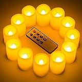 Kohree juego de 3–12sin llama luz LED con temporizador y mando a distancia, Pilar Vela Votiva nightcandles, pilas incluidas, Naranja, 12 unidades