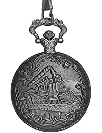 "Dice Pocket watch-SG109"" Unisex Antique case Classic Vintage Rib Chain Quartz, Steel Gray Metallic Tone Steel Grey Outer Body Shows Beautiful Embossed Large Steam Engine Train Simulated"