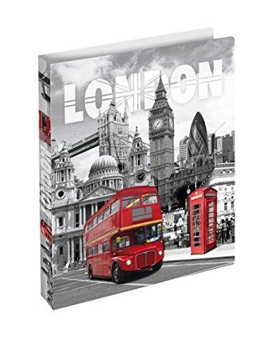 Herma 19133 Ringbuch DIN A4 mit Städte Motiv London England, Kunststoff, 2 Ringe, schmal, flexibel,...