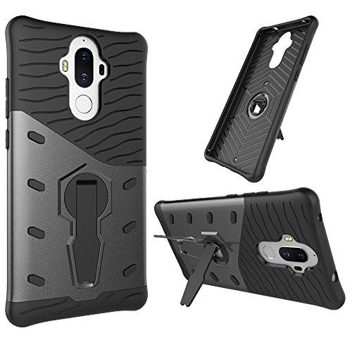 Für Huawei Mate 9 Fall Neue Rüstung Tough Style Hybrid Dual Layer Rüstung Defender Soft TPU / PC Rückseiten Fall Fall Mit 360 ° Stand [Shockproof Case] ( Color : Blue ) Black