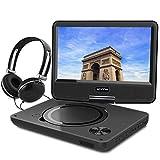 WONNIE 9,5 Lecteur DVD portable avec un écran rotatif 270°, Carte SD et prise USB avec charge directe Formats/RMVB/AVI/MP3/JPEG, Parfait pour Enfants (Noir)