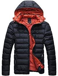 SODIAL (R) 2014 Hombres Caliente Abrigo con capucha sudadera abrigo anorak invierno chaqueta abajo Negro y Rojo - XXL