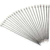 11 paires d'aiguilles à tricoter PIXNOR en acier inoxydable, 14 pouces en tailles de 2 mm à 8 mm