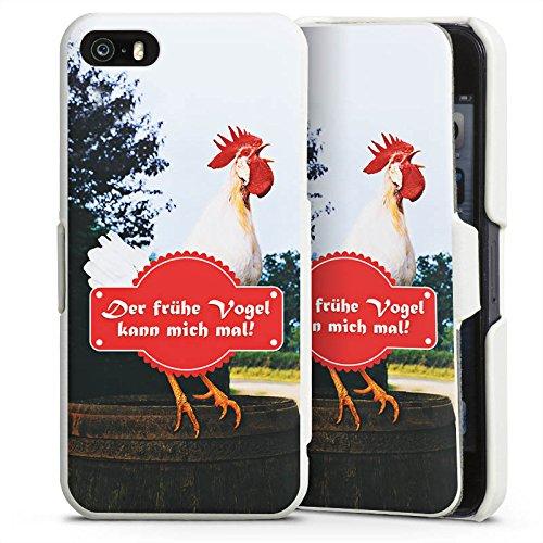 Apple iPhone 5 Lederhülle Handyhülle mit Klappe Klappfunktion Flip Case Fruehe Vogel Hahn Landleben (Klappe Früh)