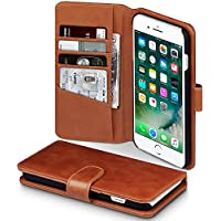 iPhone 8 Plus / iPhone 7 Plus Case, Terrapin [ECHT LEDER] Brieftasche Case Hülle mit Kartenfächer und Bargeld für iPhone 8 Plus Hülle Cognac