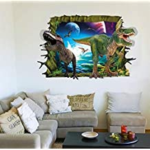 Zooarts Dark Night Dinosaurios 3d ventana Scenery adhesivos adhesivo de pared vinilo extraíble de pared Adhesivos