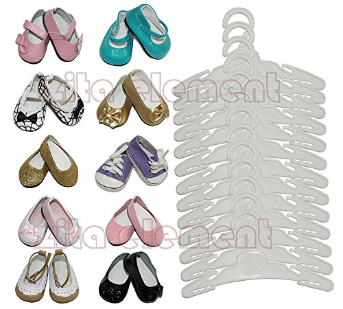 ZITA Element® Doll Accessory -LOT 15= 12 Hanger+3 Ramdon Shoes fit für18 zoll American's Girl Doll Puppen und andere 18 Zoll Puppenkleidung-Weiße Farbe- Safe new PP plastic (Child's Play Girl Kostüm)