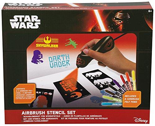 Elektrisches Star Wars Airbrush Set für Kinder mit Kompressor, Airbrush Tattoo Set Schablonen und bunten Farbpatronen - 2