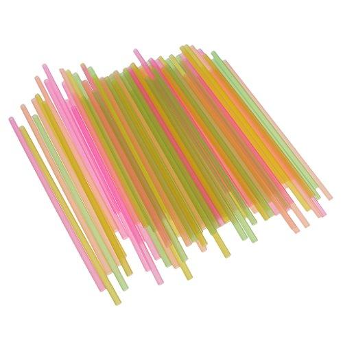 MagiDeal 100pcs Couleur Mélangée en Plastique Jetable Boire Pailles Bar Vaisselle Partie